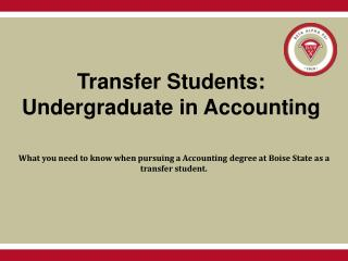 Transfer Students:  Undergraduate in Accounting