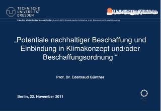 """""""Potentiale nachhaltiger Beschaffung und Einbindung in Klimakonzept und/oder Beschaffungsordnung """""""