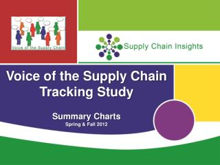 Voice of the Supply Chain Tracking Study Summary Charts Spring & Fall 2012