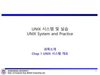 UNIX  시스템 및 실습 UNIX System and Practice