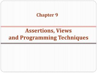 Assertions, Views and  Programming Techniques