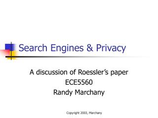 Search Engines  Privacy