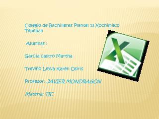 Colegio de Bachilleres Plantel 13 Xochimilco Tepepan  Alumnas : García castro Martha