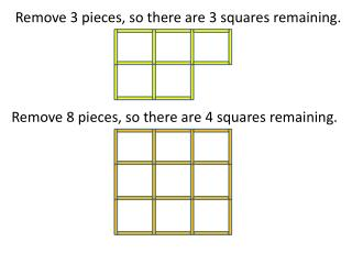 Remove 3 pieces, so there are 3 squares remaining.