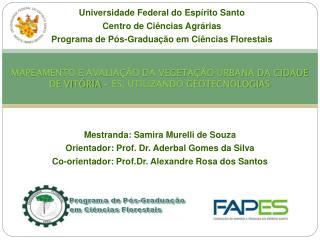 Mestranda:  Samira Murelli  de Souza Orientador: Prof. Dr. Aderbal Gomes da Silva