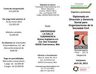 Diplomado en  Dirección y Gerencia Social para Organizaciones de la Sociedad Civil