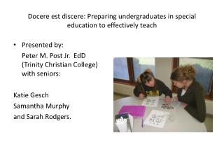 Docere est discere : Preparing undergraduates in special education to effectively teach