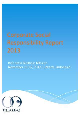 Corporate Social Responsibility Report 2013