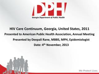 HIV Care Continuum, Georgia , United States, 2011