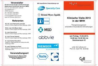 Klinische Visite 2013 in der MHH  Therapiemanagement  entzündlich-rheumatischer Erkrankungen