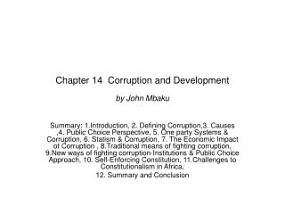 Chapter 14  Corruption and Development by John Mbaku