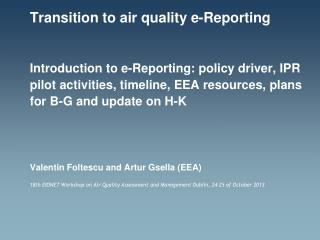 Transition to air quality e-Reporting