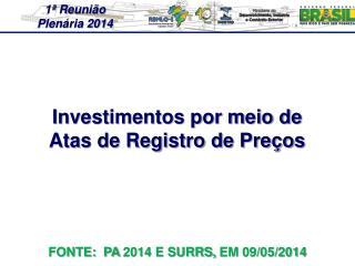 Investimentos por meio de  Atas de Registro de Preços