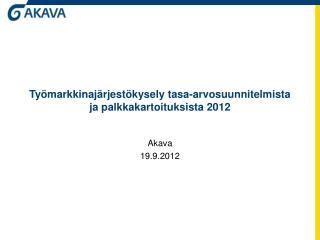 Työmarkkinajärjestökysely tasa-arvosuunnitelmista ja palkkakartoituksista 2012