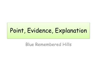 Point, Evidence, Explanation