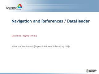 Navigation and References  / DataHeader