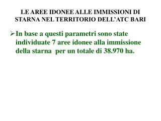 LE AREE IDONEE ALLE IMMISSIONI DI STARNA NEL TERRITORIO DELL'ATC BARI