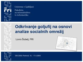 Odkrivanje goljufij na osnovi analize socialnih omrežij
