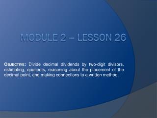 Module 2 – Lesson 26
