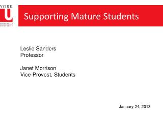 Supporting Mature Students