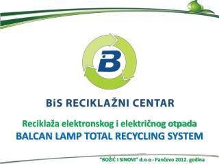 Reciklaža elektronskog i  električnog otpada BALCAN LAMP TOTAL RECYCLING SYSTEM