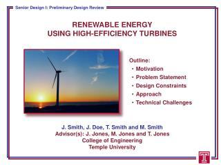 RENEWABLE ENERGY  USING HIGH-EFFICIENCY TURBINES