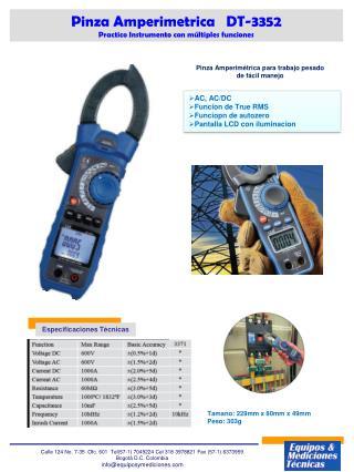 Pinza  Amperimetrica    DT-3352 Practico Instrumento con múltiples funciones