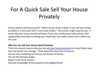 For A Quick Sale Sell Your House Privately