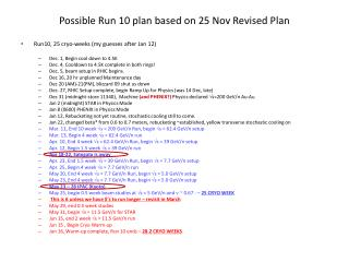 Possible Run 10 plan based on 25 Nov Revised Plan