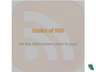 Basics of RSS