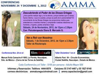 CONFERENCIAS  NOVIEMBRE 24   Y  DICIEMBRE  1, 2012