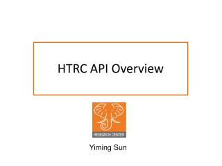 HTRC API Overview