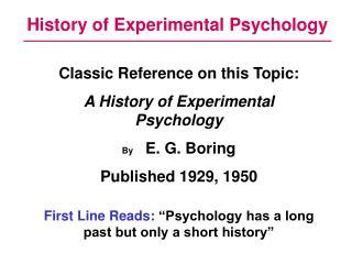 History of Experimental Psychology