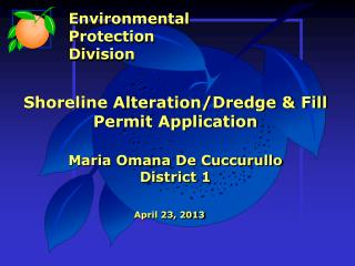 Shoreline Alteration/Dredge & Fill Permit Application Maria  Omana  De  Cuccurullo District 1