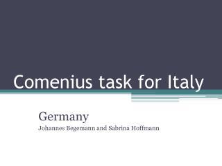 Comenius task for Italy