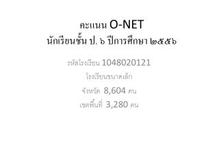 คะแนน  O-NET นักเรียนชั้น ป. ๖ ปีการศึกษา ๒๕๕๖