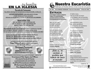 No .  398      XVII DOMINGO ORDINARIO   Mes de la Honestidad      29 de Julio 2012