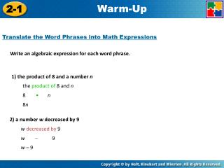 Write an algebraic expression for each word phrase.