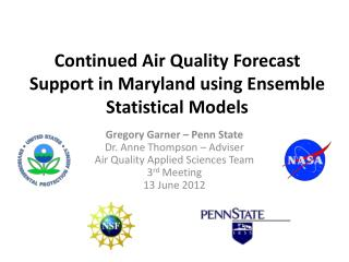 Continued Air Quality Forecast Support in Maryland using Ensemble Statistical Models