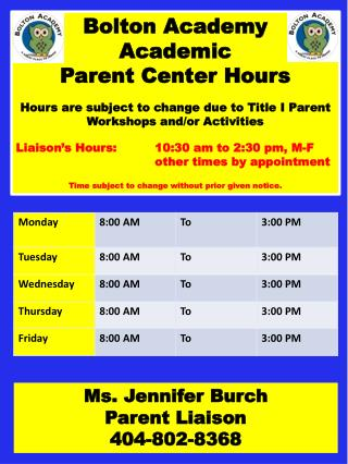 Bolton Academy  Academic  Parent Center Hours