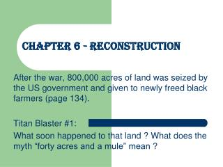 Chapter 6 - Reconstruction