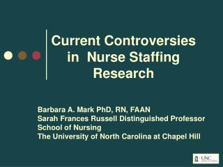 Current Controversies in  Nurse Staffing Research