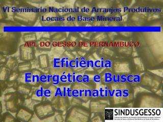 VI Seminário Nacional de Arranjos Produtivos Locais de Base Mineral APL DO GESSO DE PERNAMBUCO