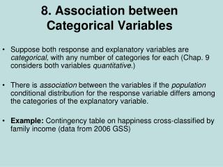 8. Association between Categorical Variables