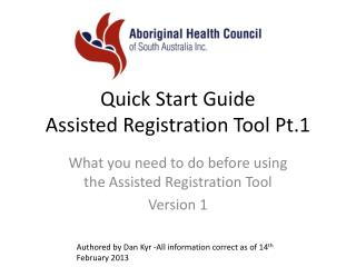 Quick Start Guide Assisted Registration  Tool Pt.1