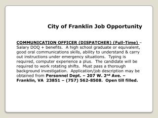 City of Franklin Job Opportunity