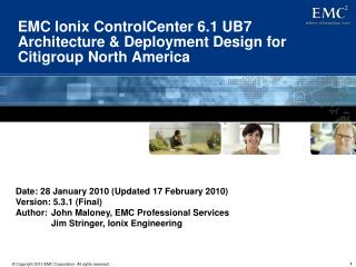 EMC Ionix ControlCenter 6.1 UB7  Architecture & Deployment Design for Citigroup North America