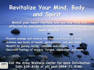 Revitalize Your Mind, Body and Spirit