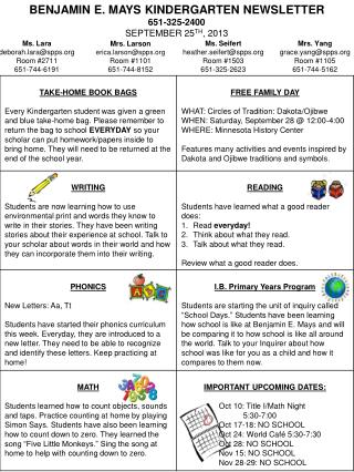 Benjamin E. Mays Kindergarten Newsletter 651-325-2400 SEPTEMBER 25 th , 2013