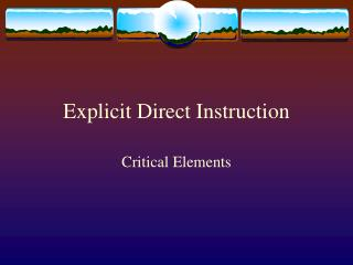 Explicit Direct Instruction
